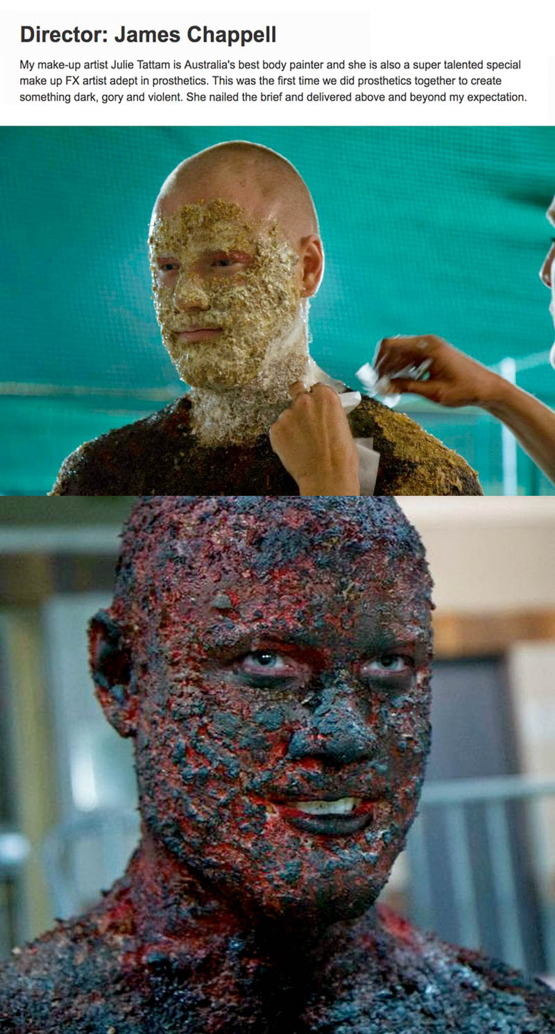 Charred corpse special effects for music video