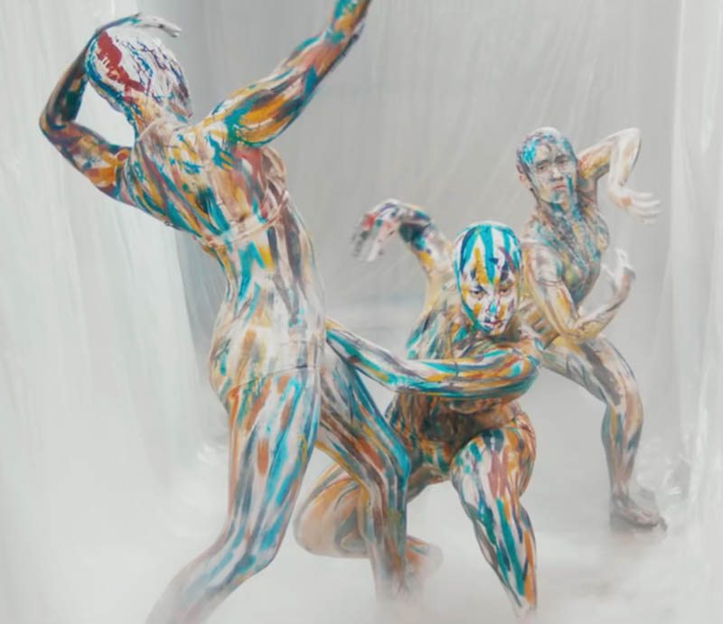 Abstract bodypainting and beauty makeup for Emma Louise music video