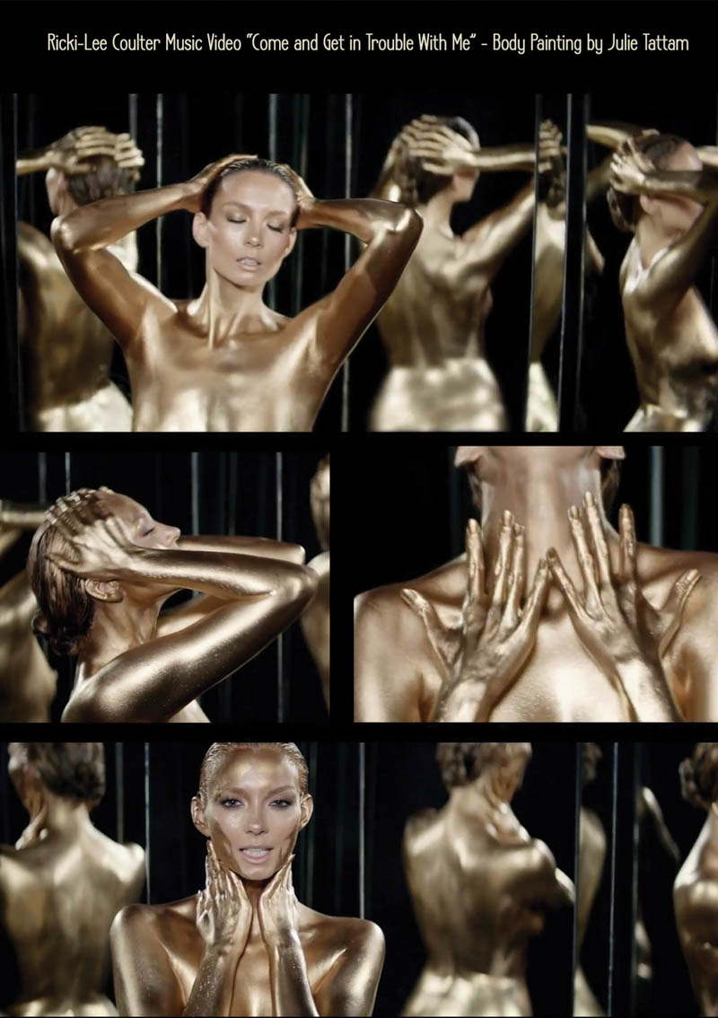 Full gold bodypainting for Ricki Lee Coulter Music Video