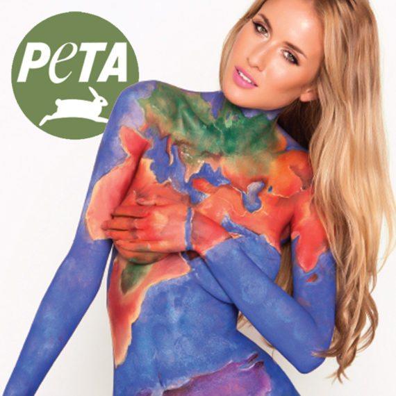 Bodypainting PETA Go Vegan Ad