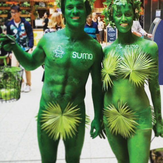 Bodypainting Sumo Salad Product Launch