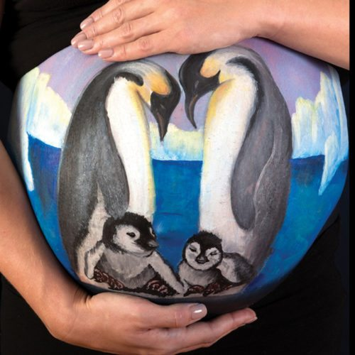 Belly painting Penguin family