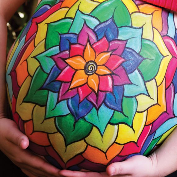 Belly painting Rainbow mandala