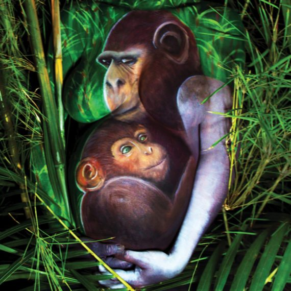 Belly chest painting Chimp mama baby