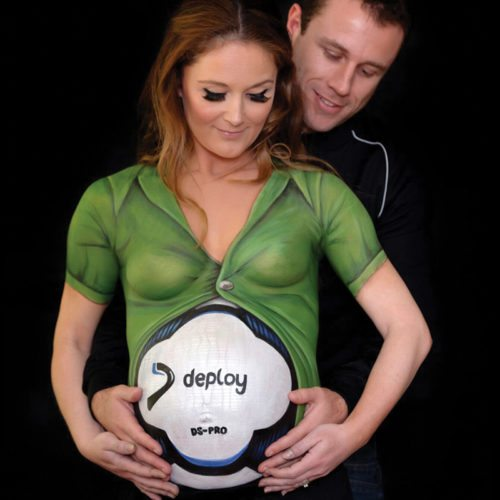 Belly chest painting Deploy football