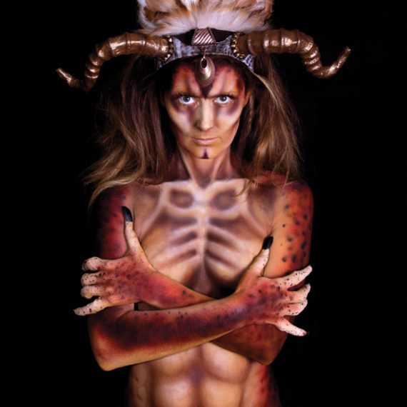 Airbrush body painting creature