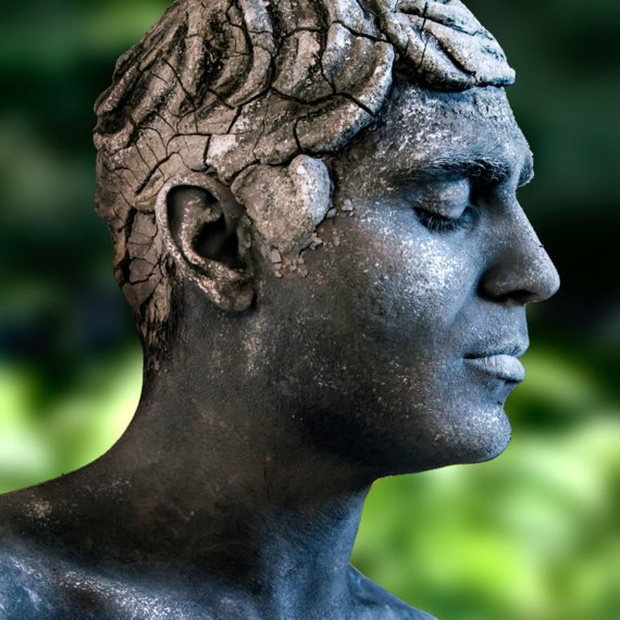 Body painting clay hair sculpting statue