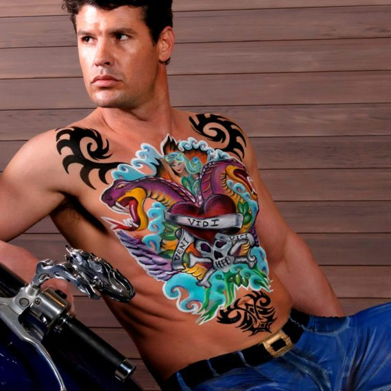 Body painting tattooed rider