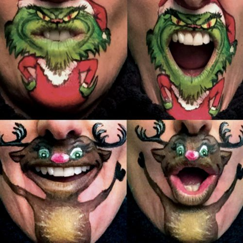 Mouth painting Christmas mouths