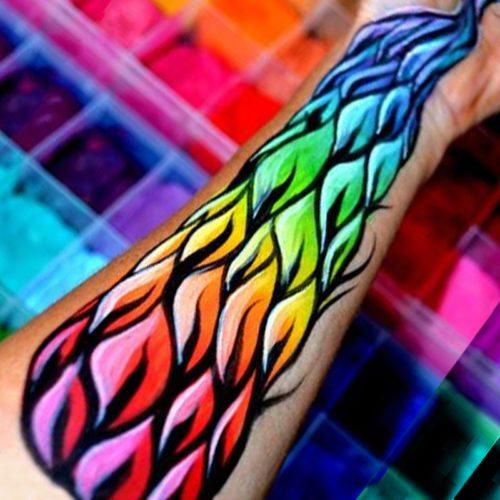 Body painting rainbow arm