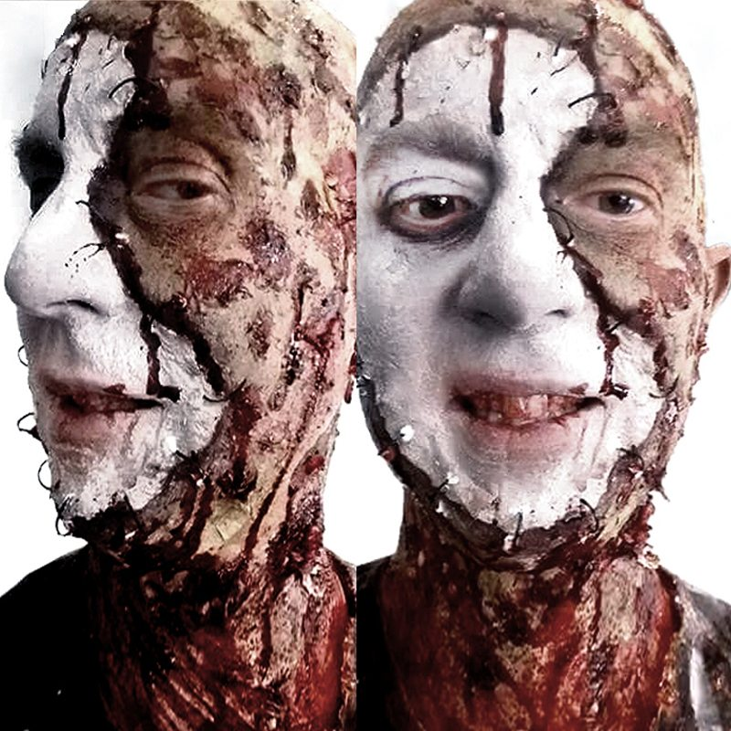 Special FX makeup stitched on face beginner