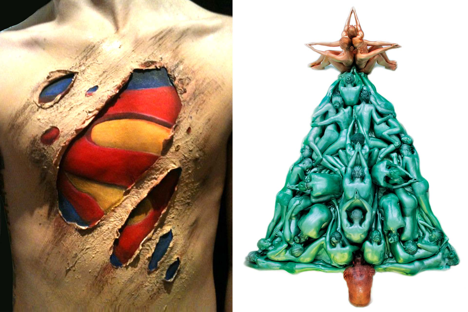 Superman and Christmas Tree Bodypainting